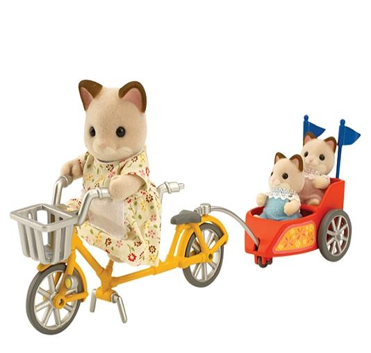 Sylvanian Tandem Bike and Baby Trailer - Toys