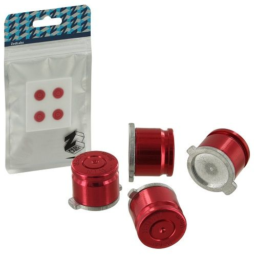 ZedLabz PS4 Alloy Metal Bullet RED Buttons