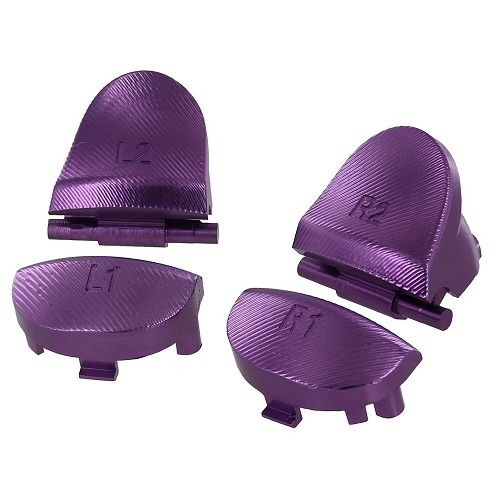 ZedLabz PS4 Aluminum Alloy Metal L2 R2 Trigger & L1 R1 PURPLE Buttons